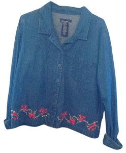 Denim & Co. Navy W/ Flowers Womens Jean Jacket