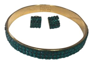 Kate Spade Kate Spade Green Crystal Earring and Bangle set