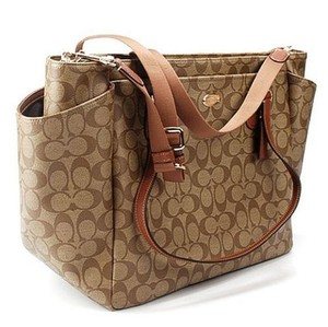 Coach Canvass Signature KHAKI/SADDLE Diaper Bag