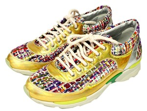Chanel Sneakers Tweed Lace Up 14k Yellow Athletic