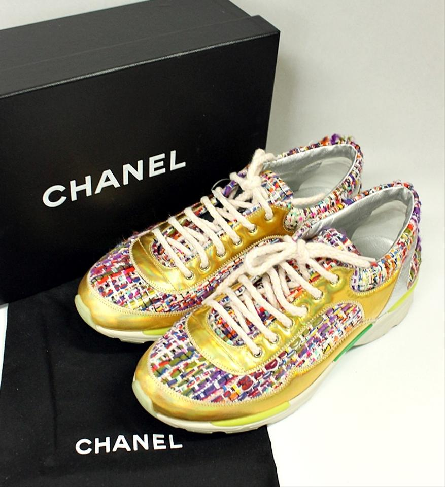 98f4fee7279 Chanel Lace Up Tweed Shoes
