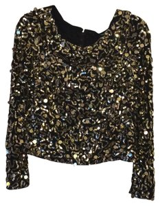 Alice + Olivia Top Gold/Black Sparkle