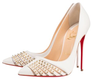 Christian Louboutin White-Light-Gold Pumps