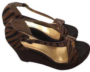 Hale Bob Brown/Tiger Print Wedges