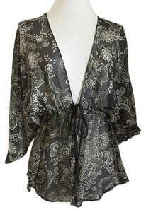 Wrapper Sheer Lace Trim Front Tie Tunic