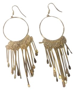 Other Gold Hoop Earrings with Dangle Detail