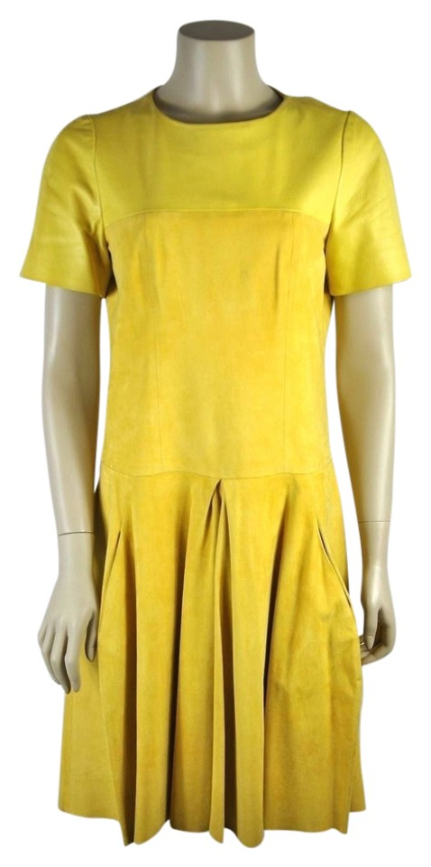 6301a123f Balenciaga Yellow Suede and Leather Pleated Above Knee Night Out ...