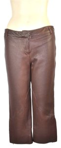 Herms Leather Capris Brown