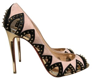 Christian Louboutin Circus City Spike Stiletto Cut-out gold Pumps