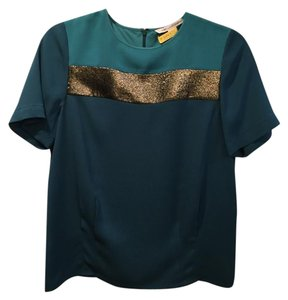 Diane von Furstenberg Retro Top Blue with gold accent