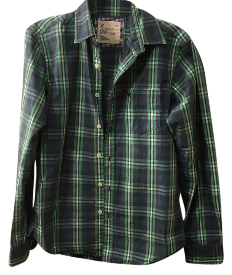 66334ecfad American Eagle Outfitters Button Down Shirt green, gray, white plaid Image  0 ...