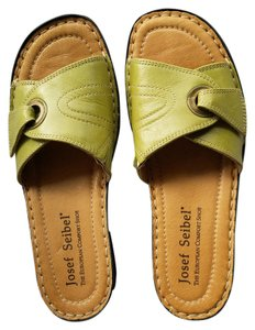 Josef Seibel Leather Mules Green Sandals