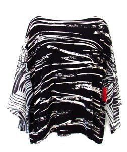 Chico's Striped Dolman Top Black