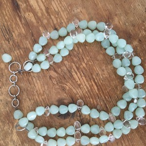Clay Pot turquoise glass beaded necklace choker length