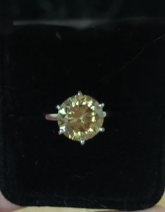 Jared NEW Natural 5.0 CT Round Cut Yellow Diamond Solitaire Engagement Ring
