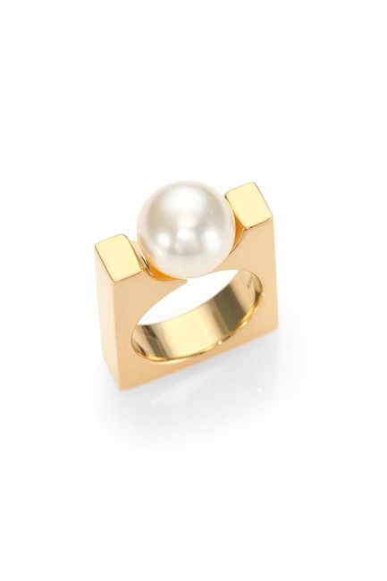Item - Gold and Pearl Darcey Square Ring