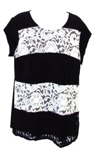 Chico's Striped Knit Lace Overlay Top Black