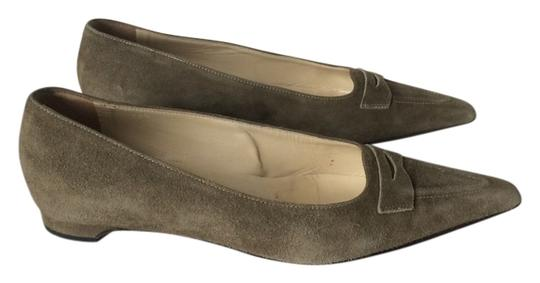 Pancaldi Vintage Suede Green Olive Green Flats