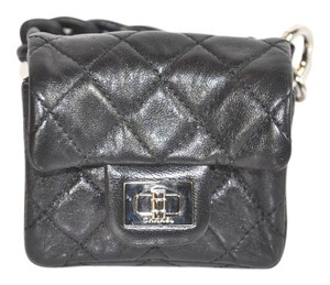 Chanel Quilted Leather Ankle Pouch Wristlet in Black