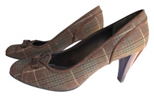 Stuart Weitzman Women's Shoes Pumps High Heels Dark Top Brown Plaids