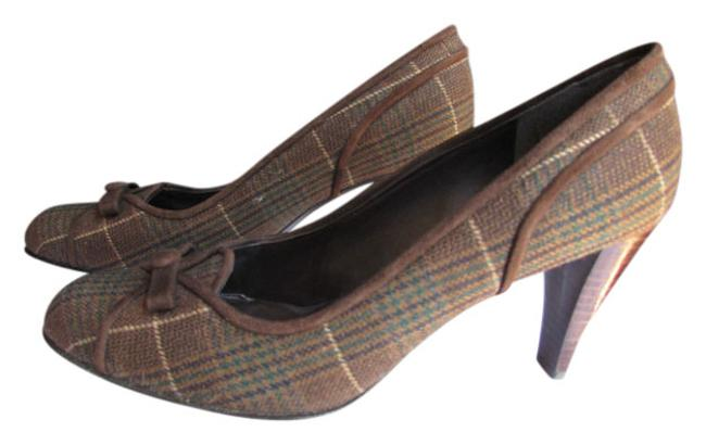 Item - Women Dark Fabric Bow Pump Mid High Heels Brown Plaids Top