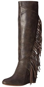 Koolaburra Tall Fringed Genuine Leather Brown Boots