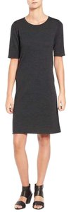 Eileen Fisher short dress Dark Brown Wool Unlined Short Sleeve on Tradesy
