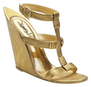 Saint Laurent Ysl Gold Gold Metallic Wedges