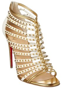 Christian Louboutin Studded Leather Gold Stiletto Strappy White Pumps
