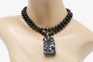 Other Gorgeous Hand Carved BLACK JADE Pendent Necklace w/18K Gold