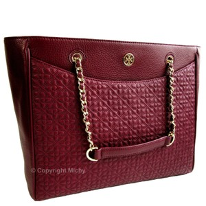 Tory Burch Quilted Leather Braided Chain Strap E/w Bryant Tote in Red Agate