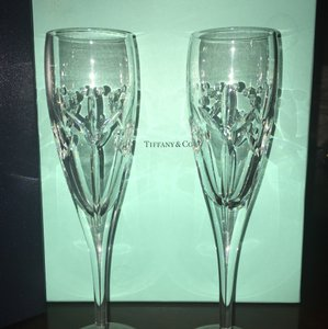 Tiffany & Co. Pair Of 'lydia' Champagne Flutes (in Boxes) *wedding Toast/gift*