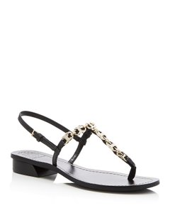 Tory Burch Gemini Chunky T-strap Black Sandals