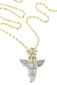Gold Necklace Diamond Paved Gold Angel Charm Necklace