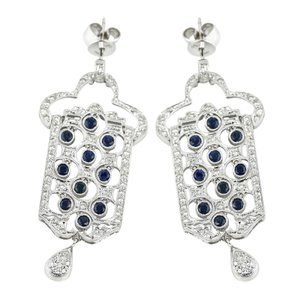 Gold Earrings Diamond Encrusted with dangling blue sapphires on 18K White Gold Earri