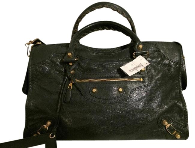 Item - Giant Gold City 281770 Agneau Satchel 1202 Anthracite Grey Leather Tote
