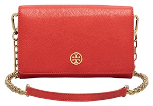 Tory Burch TORY BURCH ROBINSON WALLET ON CHAIN POPPY RED