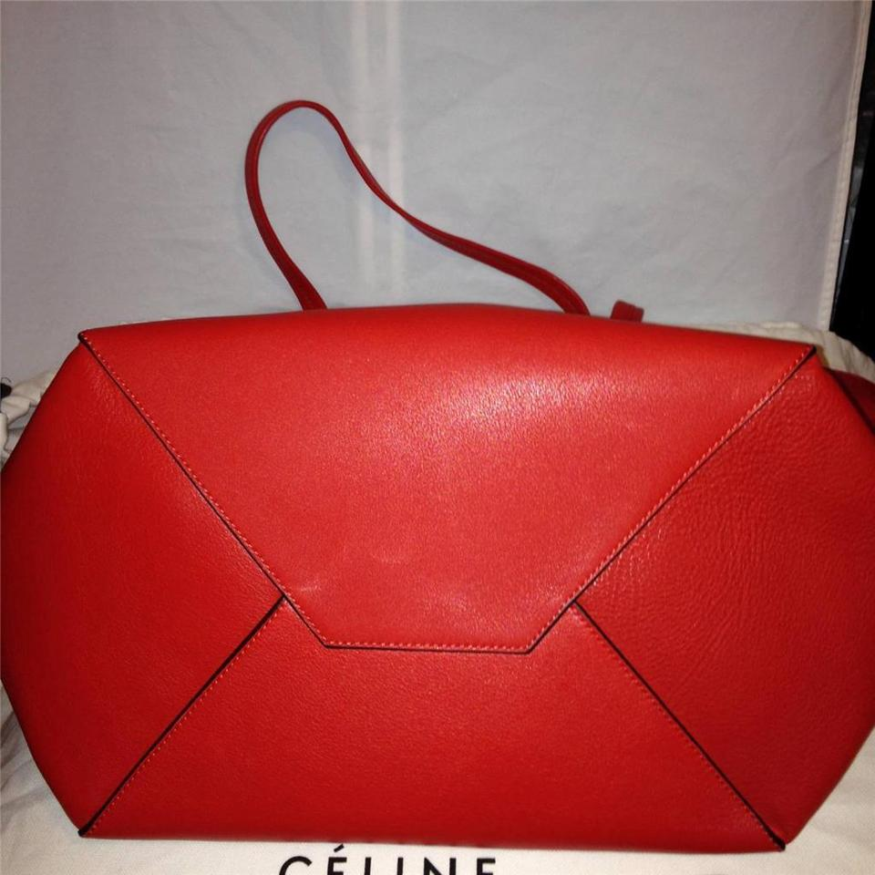 b90c719f09a1 Céline Cabas Phantom Cabas Large Shopping Shopper Clutch Pouch Red Leather  Tote - Tradesy