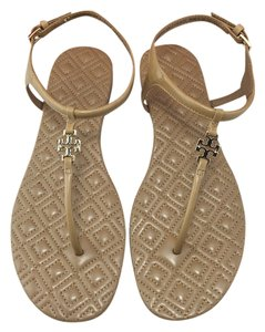 Tory Burch Marion Quilted T-strap Beige Sandals