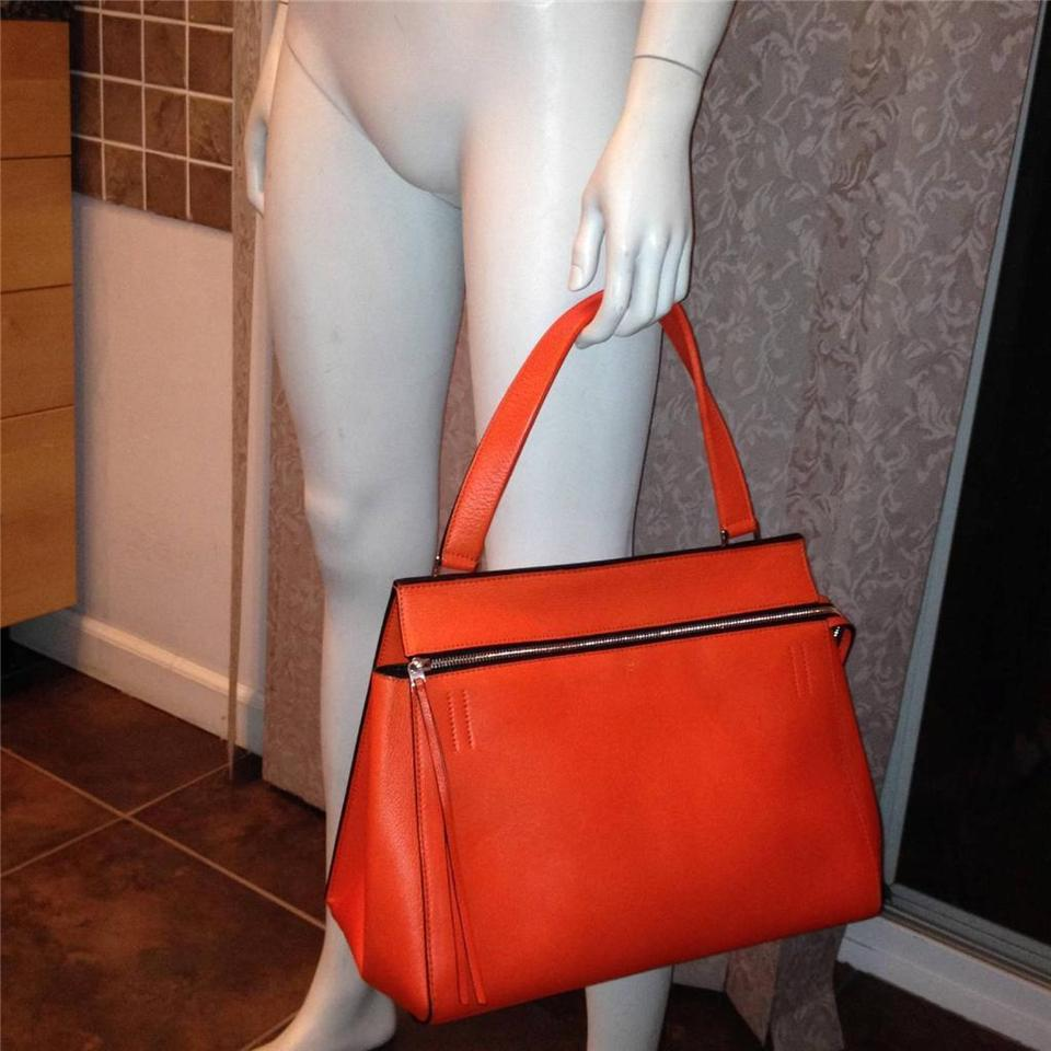 3e81a5379b Céline Edge Medium Shopping Hand Shoulder Shopper Orange Red Leather ...
