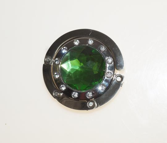 Purse Keeper Purse Bag Hook Table Hanger Green Plastic Crystal Silver Plate Folds Up