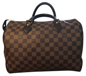 Louis Vuitton Leather Damier Canvas Satchel in Brown