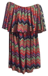 T-Bags Los Angeles short dress Multi color Off Mini Day Zig Zag Print on Tradesy