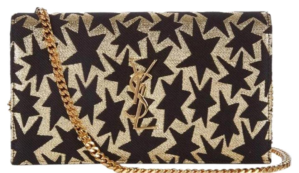 d7b00ce17b74 Saint Laurent Classic New Ysl Monogram Star Jacquard Black Gold Tapestry Cross  Body Bag