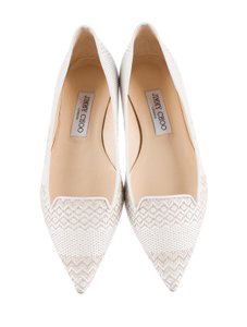Jimmy Choo Atlilla Cream and ivory Flats
