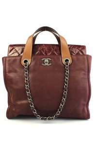 Chanel Quilted Chain Rue Cambon Flap Satchel in Burgundy