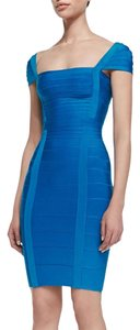 Herv Leger short dress Blue on Tradesy