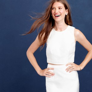 J.Crew Collection Cropped Top In Cotton-silk Twill Wedding Dress