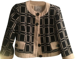 Milly of New York Milky Classic Jacket Black and Beige with Beautiful Hardware