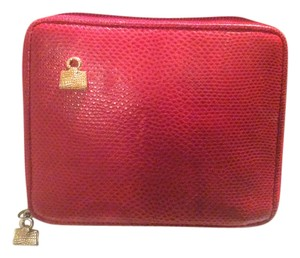 Judith Leiber Judith Lieber Snakeskin Zip Around Red Wallet